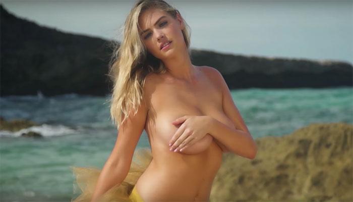 Kate Upton werd tijdens een fotoshoot voor de Sports Illustrated Swimsuit Issue hard van een rots af gebeukt door een golf.