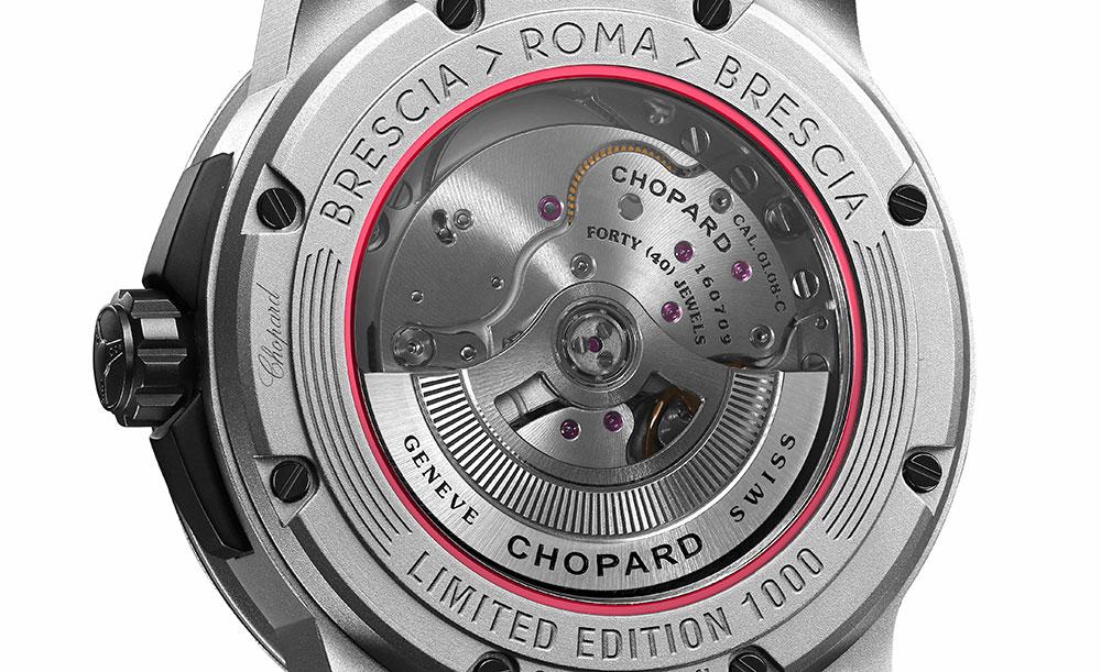 Horlogemerk Chopard en de legendarische Mille Miglia-rally vieren dit jaar dertig jaar partnerschap met een speciaal horloge. De Chopard Mille Miglia GTS Power Control Grigio Speciale heeft namelijk een brandstofmeter.