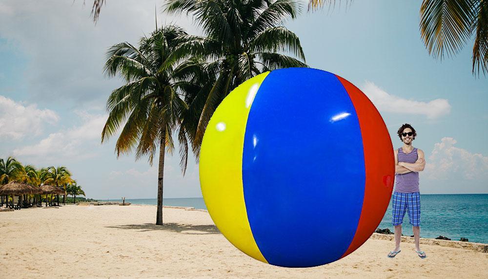 Zorg er in één klap voor dat jij de grootste ballen hebt van het strand. Zo groot en ontzagwekkend, dat iedereen met jou wil ballen. Hoe? Met deze gigantische strandbal.