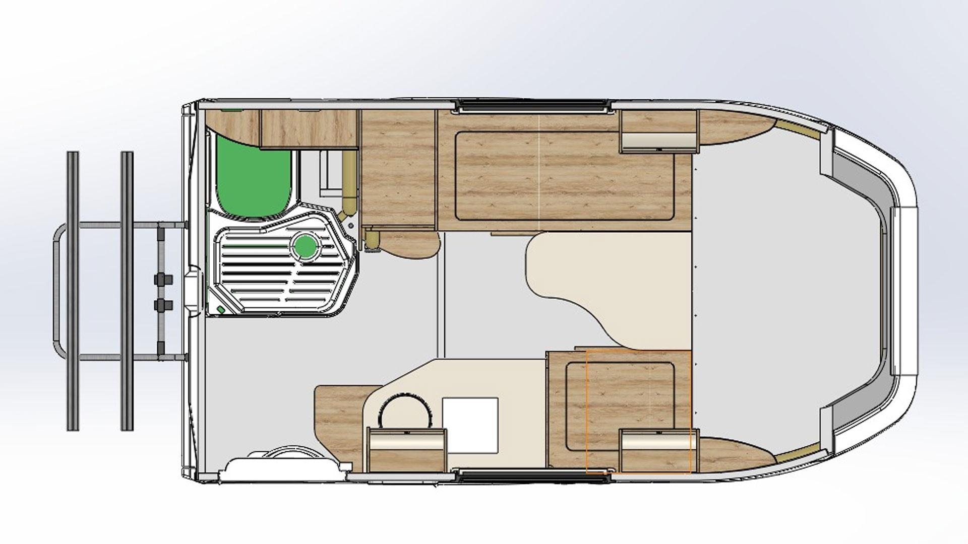 Lada Granta Camper plattegrond