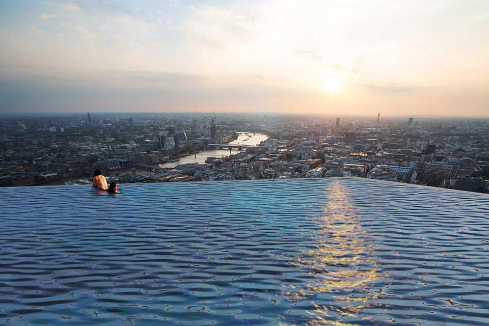 Rooftop infinity pool render