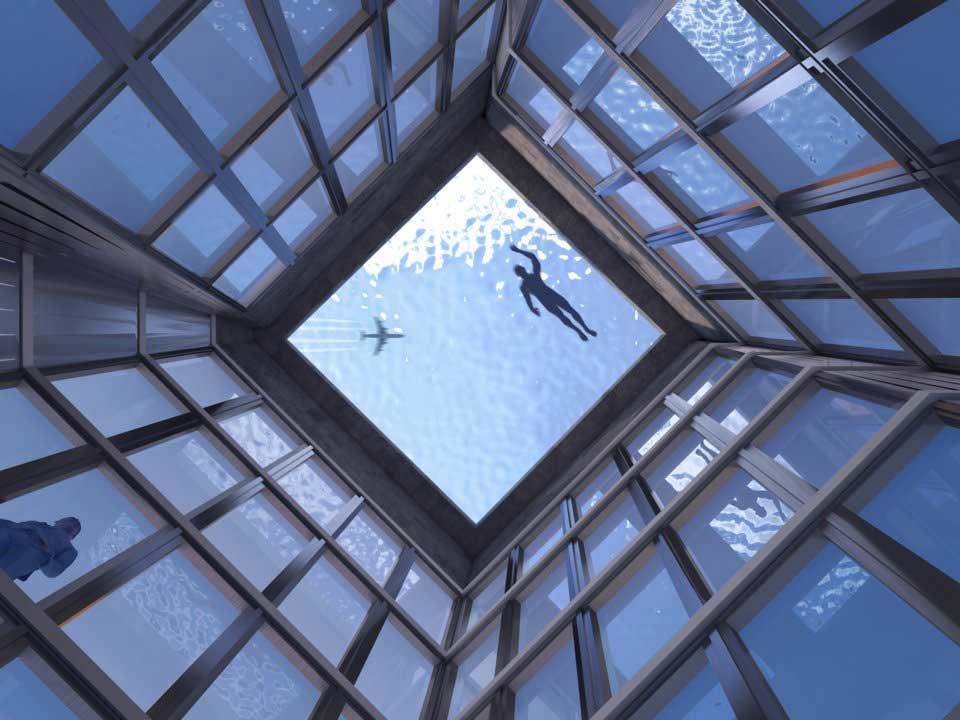 Rooftop infinity pool van onderen