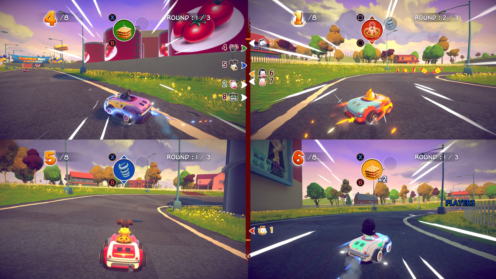 Garfield Karting: Furious Racing screenshot vier spelers