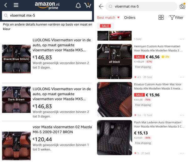 AliExpress producten op Amazon