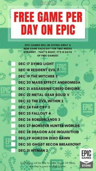Epic Games Store geeft 15 gratis games weg rond de feestdagen
