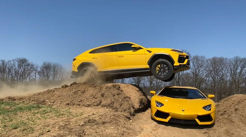 YouTuber springt met Lamborghini Urus over Lamborghini Aventador