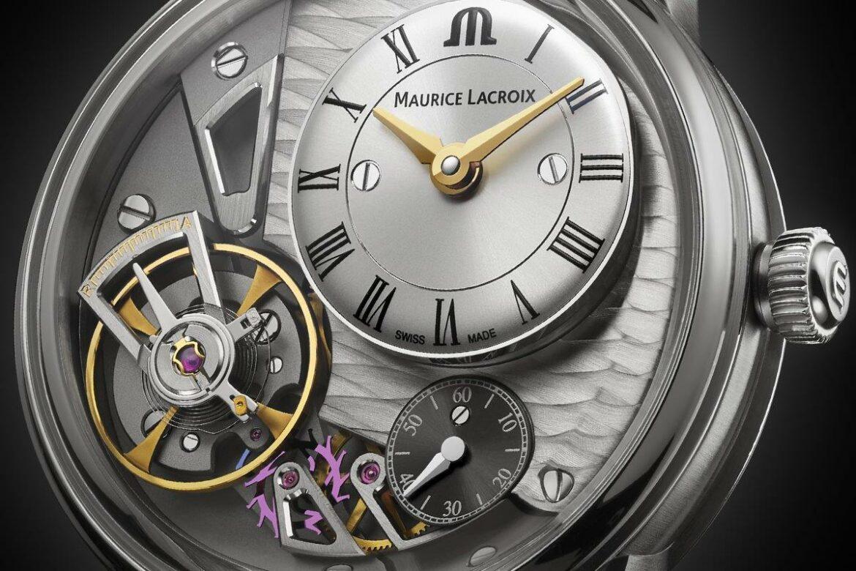 Maurice Lacroix Masterpiece Gravity wijzerplaat close-up