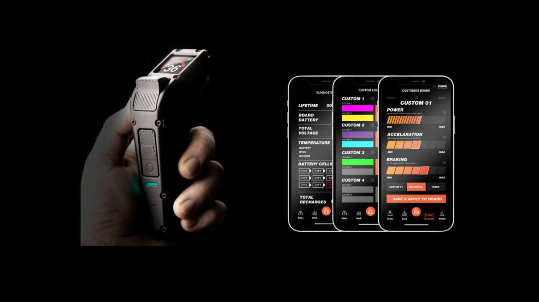 Evolve Hadean Carbon elektrisch skateboard app