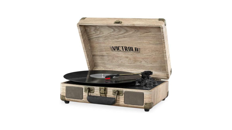Victrola platenspeler draagbaar hout