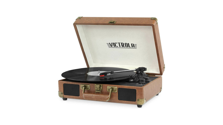 Victrola platenspeler draagbaar leer