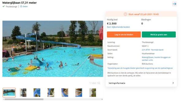 Gigantische waterglijbaan (57m) staat te koop